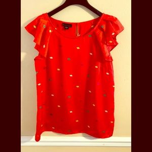 Apostrophe Red Confetti Top Medium